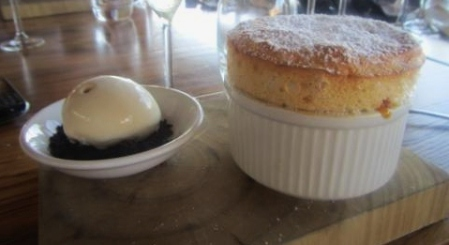 Vanilla and hazelnut praline soufflé with Tonka bean ice-cream